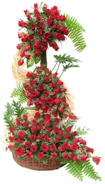 150 red Roses on a 4 ft stand
