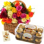 18 Coloured roses basket with 16 Ferrero chocolates