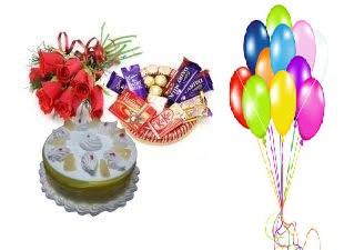 12 Air Balloons Chocolates Basket 16 Pc Ferrero Rocher 4 Dairy Milk Kit Kat