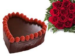 12 red roses+1 Kg chocolate heart cake