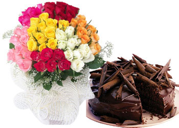 1/2 Kg Chocolate Cake 24 Mix roses Bunch