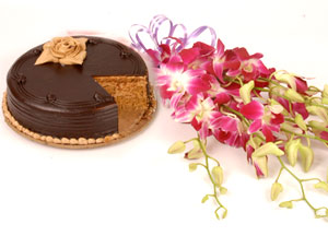 Orchids Bouquet+ 1/2 kg chocolate cake