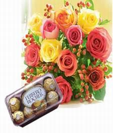 12 roses, 16 pieces chocolates