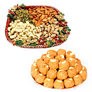1 kg Dry fruits with 1 kg Boondi Ladoo