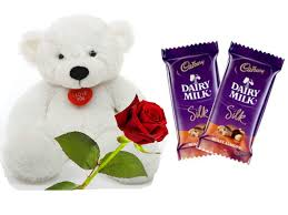 1 feet teddy 1 red roses and 2 silk chocolates