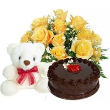 1 kg black forest cake and 15 roses bouquet and teddy