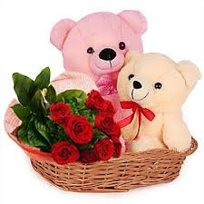 1 feet teddy 6 inch teddy and 6 red roses in same basket