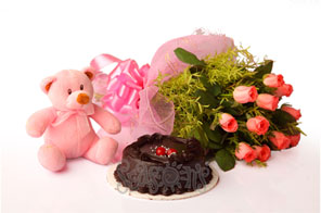 Pink Teddy 12 Pink Roses 1/2 Kg chocolate Cake