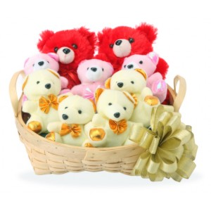 9 Teddies in a basket-6 inches each