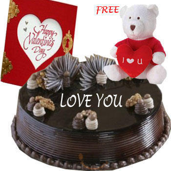 1 Kg chocolate cake Teddy and Card