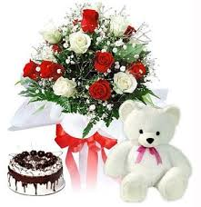 1/2 kg cake teddy and 12 red roses bouquet