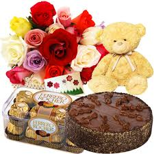 red roses, teddy, 1/2 kg cake,16 packs ferrero rocher