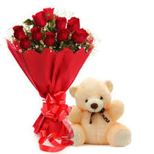 12 Roses 1 teddy bear
