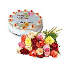 12 mix roses with 1/2 Kg Pineaaple cake