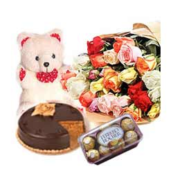 Flowers, Teddy, chocolates, cake and rakhi