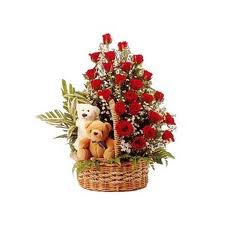 2 teddies with flowers basket