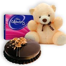 6 inches Teddy Half kg chocolate cake Celebration box