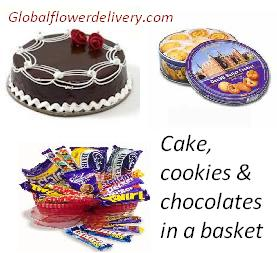 Chocolates cookies and cake in a basket