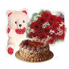 Cake with 12 red roses bouquet and teddy